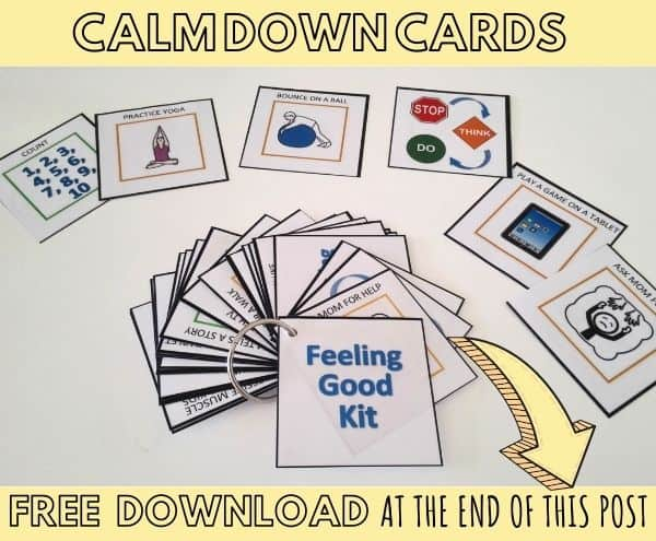 Calm down cards representing anger management activities for kids