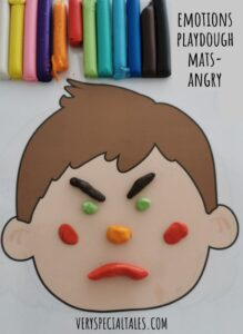 Angry Face - anger management activity with face playdough mats
