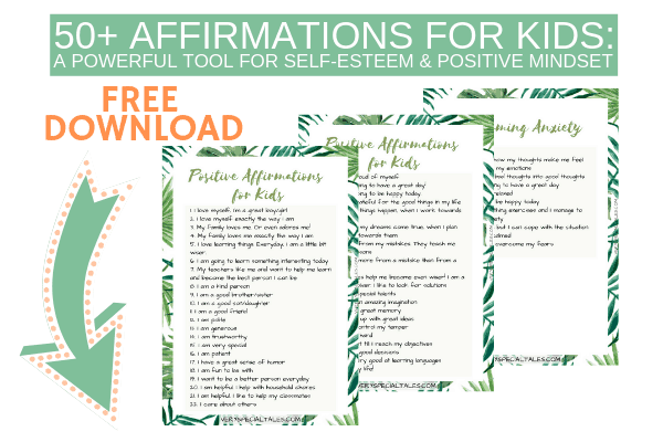 List of Affirmations for Kids and Anxious Kids Printable