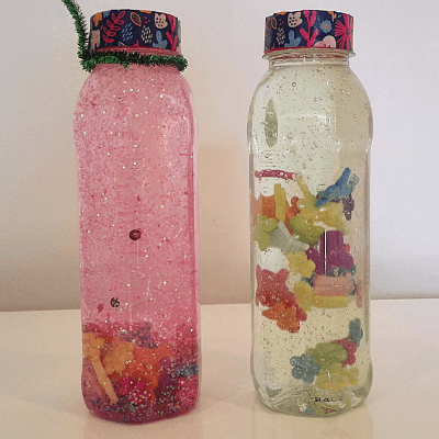 Two Sensory Bottles with Liquid Hand Soap