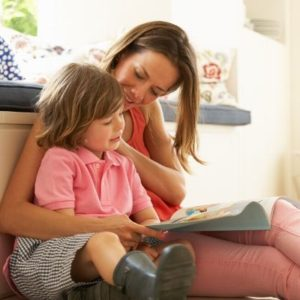 Mother helping child increase her emotional vocabulary
