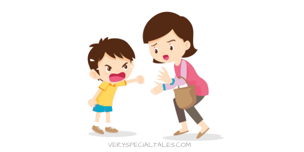 Boy throwing a tantrum with Mom