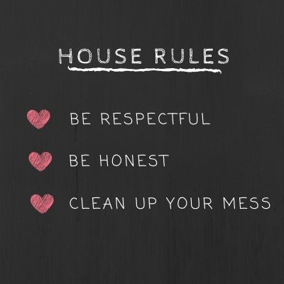 Blackboard with House Rules for Kids