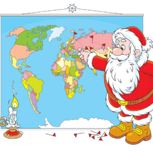 Santa Claus looking at the World Map