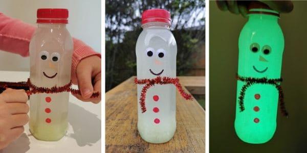 Snowman Glow in the Dark Sensory Bottle is ready