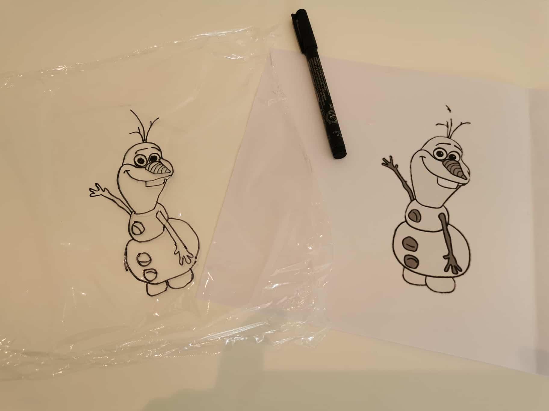 Drawing Olaf on glad-wrap