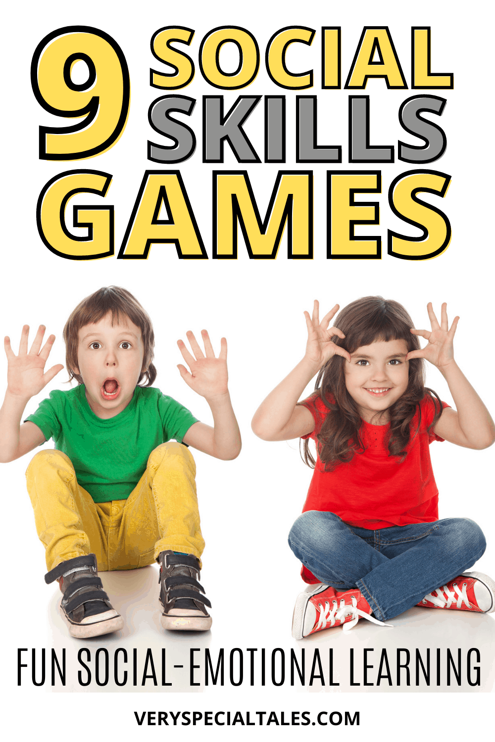 A pin presenting Social Skills Games Ideas with two kids making funny faces