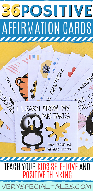 PIN VISUAL FOR A SET OF AFFIRMATION CARDS FOR KIDS WITH ANIMAL DRAWINGS