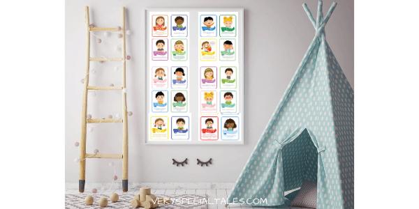 Emotions Poster using flashcards in Kids Calming Corner