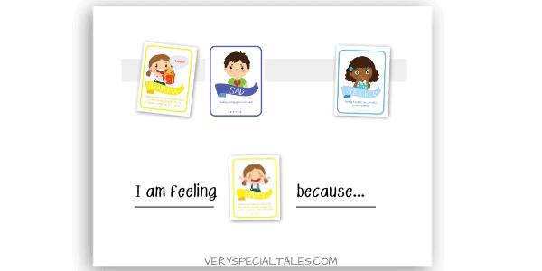 emotions board prepared with feelings flashcards