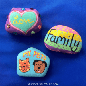 Painted Gratitude Stones showing pets love and family