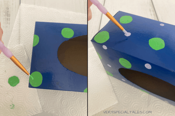 Painting the Tissue Box for the Worry Box project