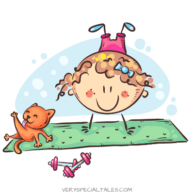 Girl practicing indoor exercises for kids next to her cat