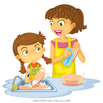 Kid helping Mom with Household Chores