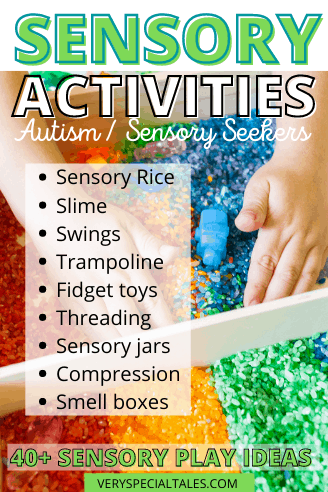 List of Sensory Activities for Kids with Autism and Sensory Seekers with a visual of sensory rice
