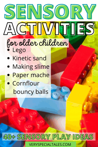 List of Sensory Activities for Older Children with a visual of Lego Blocks