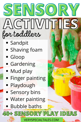 List Sensory Activities for Kids with a visual of hand painting