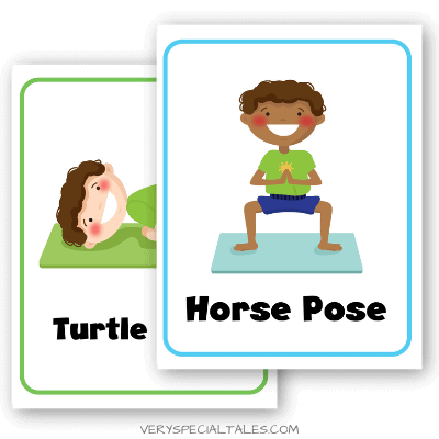 Turtle Pose and Horse Pose Yoga Cards