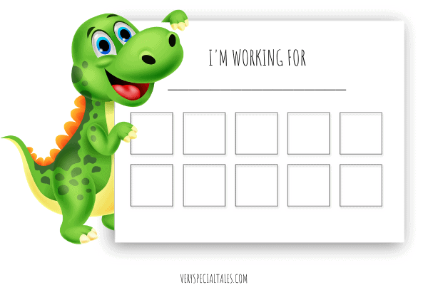 EXAMPLE OF TOKEN BOARD OR REWARDS CHART WITH A DINOSAUR that we use to administer rewards for kids