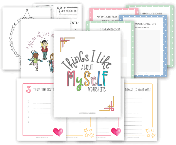 "Several Self-Esteem Worksheets themed ""Things I Like About Myself"""