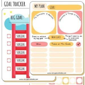 Goal Setting Worksheets for Kids_Goal Ladder Goal Planner and Tracker