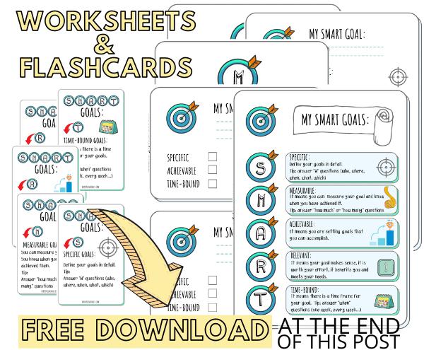 SMART Goals Worksheets and Flashcards for Kids